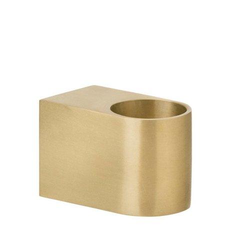 Ferm Living Kandelaar Block brass goud small 4,5x3cm