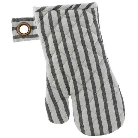 Housedoctor Ovenhandschoen Stripe set van twee grijs zwart katoen 18x32cm