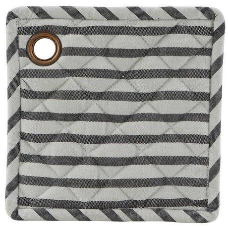 Housedoctor Pannenlap Stripe set van twee grijs zwart katoen 20x20cm