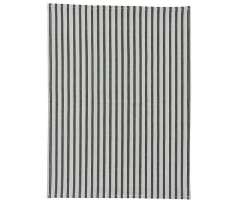 Housedoctor Theedoek Stripe grijs zwart katoen 50x70cm