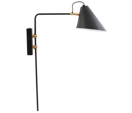 Housedoctor Wandlamp club zwart ijzer Ø18-20x54x22cm