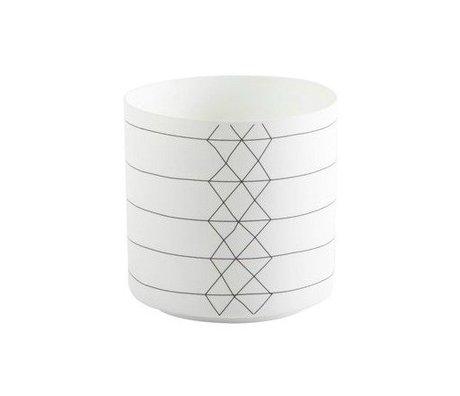 FEST Amsterdam Waxinelichthouder Bright Stripe porselein zwart wit 9x9cm