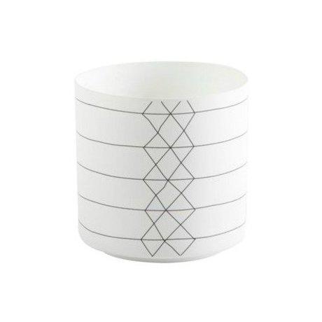 FÉST Waxinelichthouder Bright Stripe porselein zwart wit 9x9cm