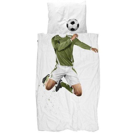 Snurk Beddengoed Dekbedovertrek Soccer Champ groen wit katoen 3 maten