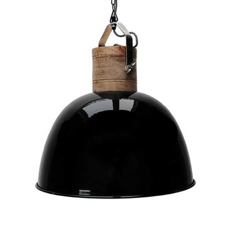 LEF collections Hanglamp Nordic L zwart bruin aluminium hout ∅49x55cm