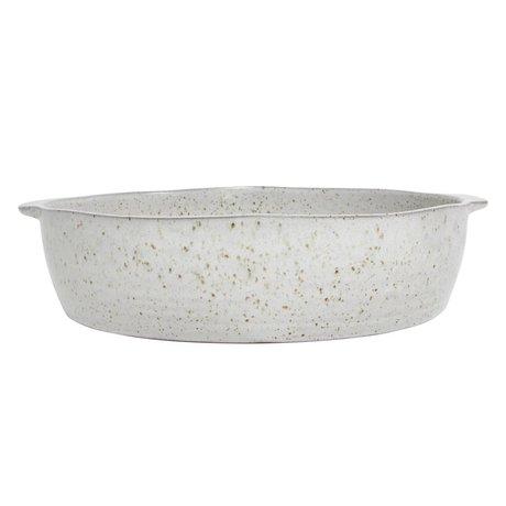 HK-living Schaal met gespikkelde afwerking wit aardewerk 31x29x7,5cm