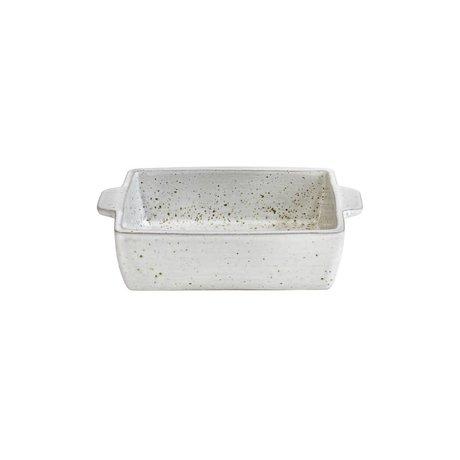 HK-living Schaal oven wit met gespikkelde afwerking aardewerk 15x11x4,5cm
