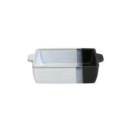 HK-living Schaal oven wit met zwarte dip aardewerk 15x11x4,5cm