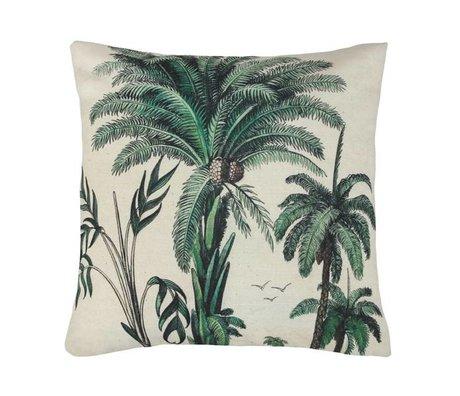 HK-living Sierkussen palmbomen groen wit katoen 45x45cm
