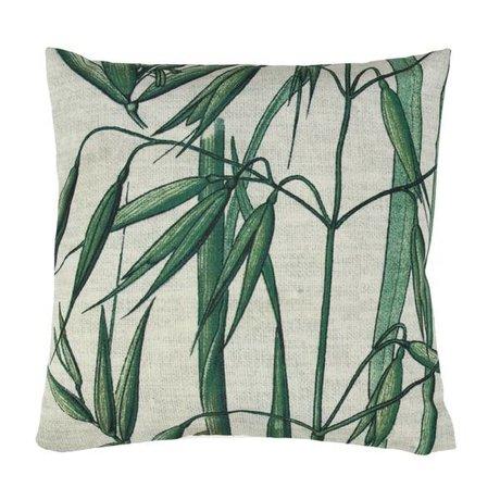 HK-living Sierkussen bamboo groen wit katoen 45x45cm