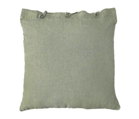 HK-living Sierkussen groen linnen metaal 50x50cm