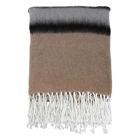HK-living Deken gestreept bruin zwart grijs wol 150x125cm