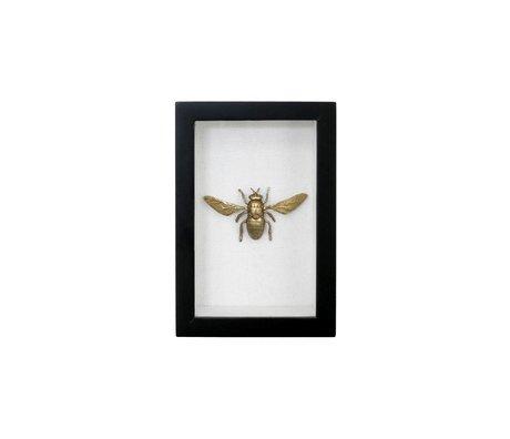 HK-living Fotolijst vlieg zwart goud kunstof katoen messing 15,5x10,5x4cm