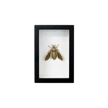 HK-living Fotolijst bij zwart goud kunstof katoen messing 15,5x10,5x4cm