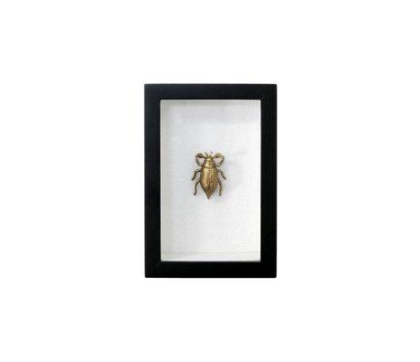 HK-living Fotolijst kever zwart goud kunstof katoen messing 15,5x10,5x4cm