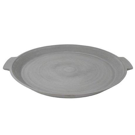 HK-living Dienblad L grijs steenpoeder resin polyester 60x50x5cm