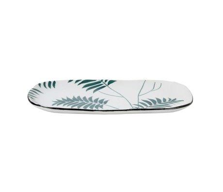 HK-living Bord jungle groen wit porselein 25x13,5x1,5cm