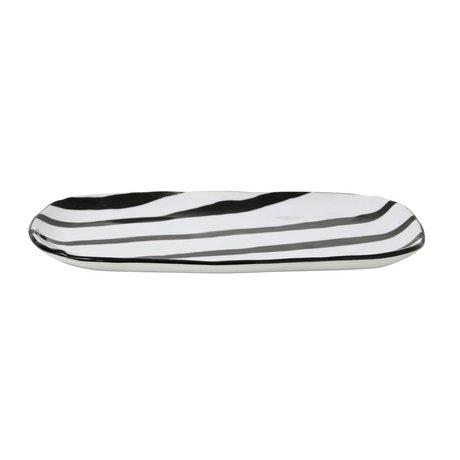 HK-living Bord jungle zwart wit porselein 25x13,5x1,5cm
