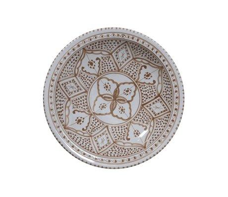 HK-living Schaal souk groot A grijs bruin aardewerk 33x33x8cm