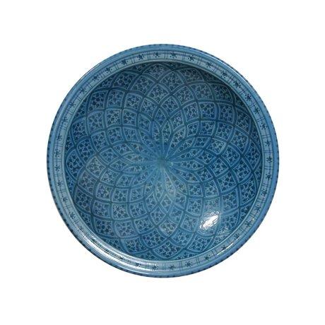 HK-living Schaal souk groot B blauw aardewerk 33x33x8cm