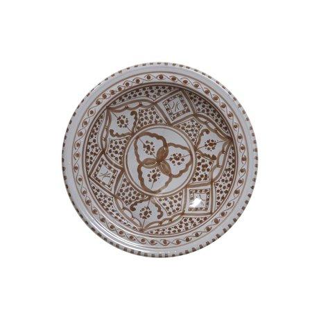 HK-living Schaal souk medium B grijs bruin aardewerk 22x22x6cm