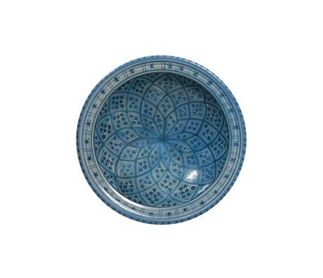 HK-living Schaal souk medium E blauw aardewerk 22x22x6cm