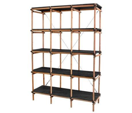 HK-living Kast zwart bruin mahonie hout 122x46x180cm