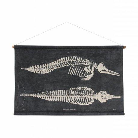 HK-living Schoolplaat Dolfijn geprint zwart katoen hout 115x65x2,5cm
