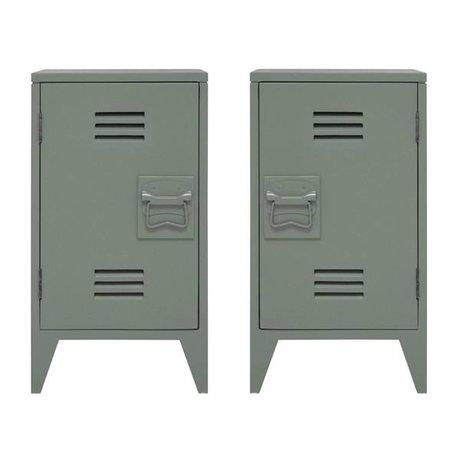 HK-living Nachtkastje locker set van 2 leger groen hout 65x36x33cm
