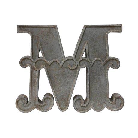 HK-living Letter M met antiek look grijs metaal 65x66x9cm