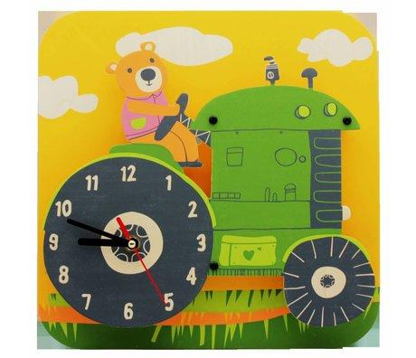 Klok Tractor multicolor hout kunststof Ø29cm