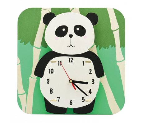 Klok Panda multicolor hout kunststof Ø29cm