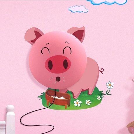 Wandlamp Little Piggy multicolor pvc sticker 62x60cm