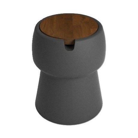 JokJor Kruk Champ zwart bruin kunststof walnotenhout Ø35x45cm