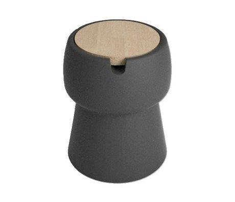 JokJor Kruk Champ zwart bruin kunststof eikenhout Ø35x45cm