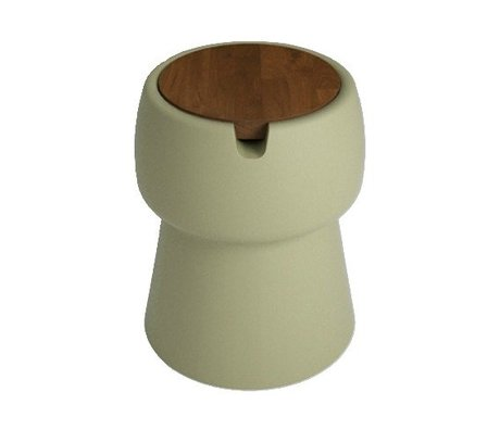 JokJor Kruk Champ groen bruin kunststof walnotenhout Ø35x45cm