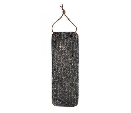HK-living Keuken plankje keramiek zwart met leren bandje 32,5x12x1cm