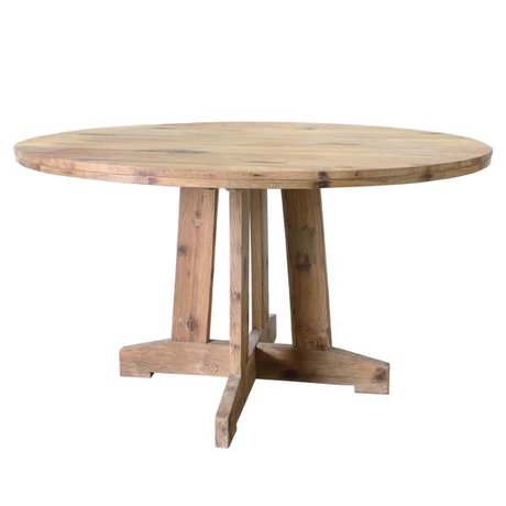 HK-living Eettafel rond bruin teak hout 140x140x75cm
