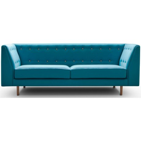 I-Sofa Bank Levi turquoise blauw textiel hout 209x83x78cm
