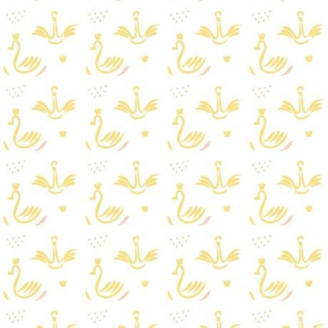 Roomblush Behang Swans geel papier 1140x50cm
