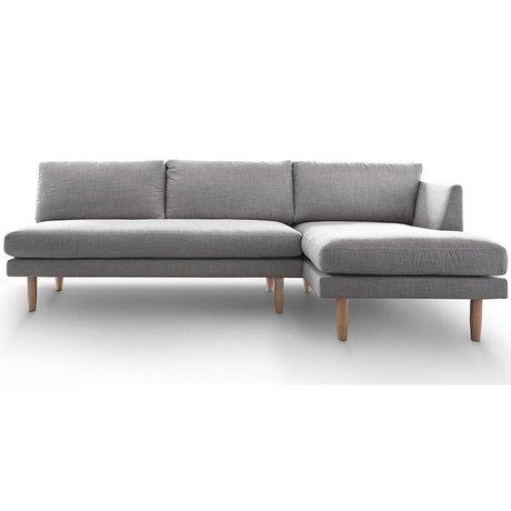 I-Sofa Hoekbank rechts Sem licht grijs textiel hout 275x148x90cm