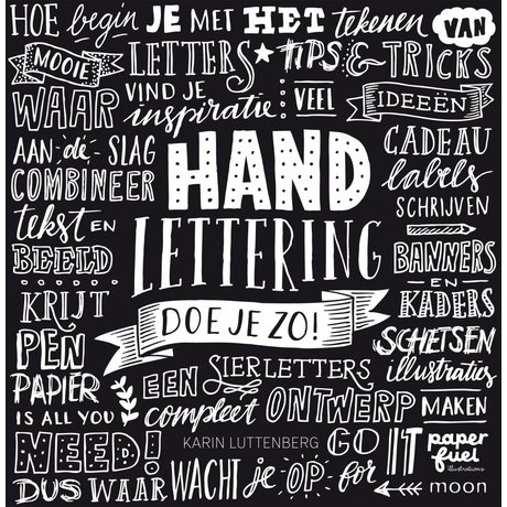 LEF collections Boek Handlettering doe je zo (karin Luttenberg) zwart wit papier 21x21,5cm