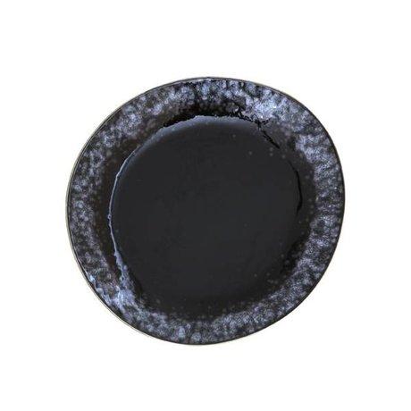 HK-living Ontbijt bord zwart keramiek 70's style set van 6 ø22cm