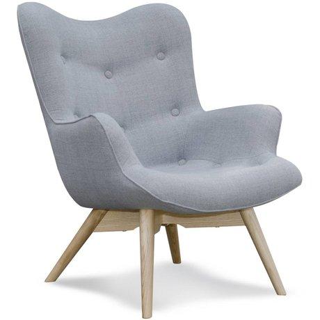 I-Sofa Fauteuil Vida grijs textiel hout 84x71x88cm