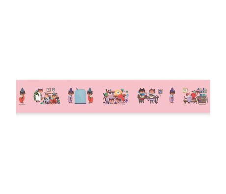 KEK Amsterdam Behangrand Fiep Westendorp Busy Bears roze 16x500cm
