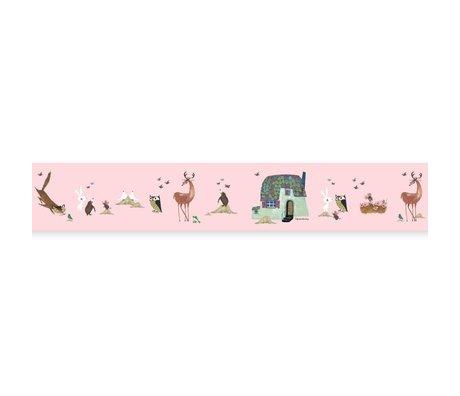 KEK Amsterdam Behangrand Fiep Westendorp Forest Animals roze 16x500cm