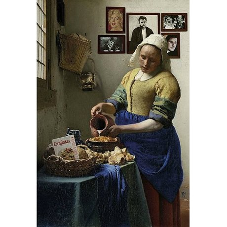 Arty Shock Schilderij Vermeer Melkmeisje L multicolor plexiglas 100x150cm