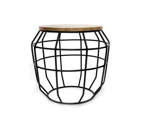 LEF collections Salontafel Pixel zwart metaal hout 51x51x46cm
