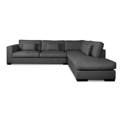 I-Sofa Hoekbank Harpo donker grijs textiel 300x225x80cm