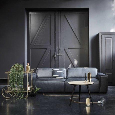 FÉST Bank Edge 3-zits leather de silva 15004 donker grijs leer 254x103cm